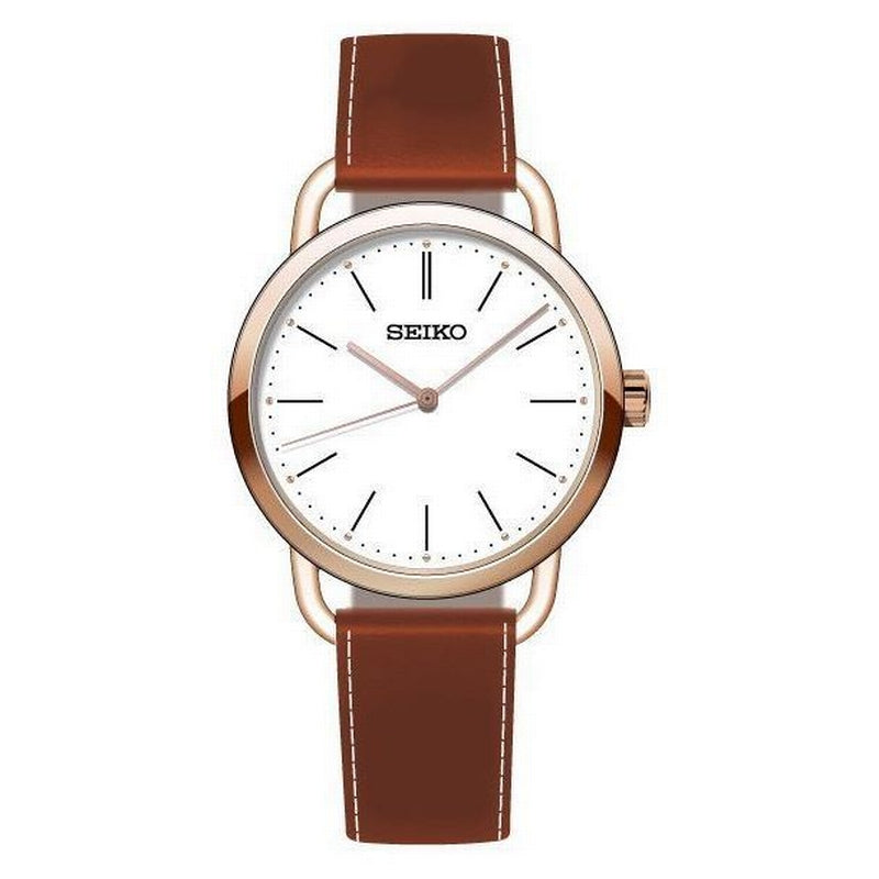 Seiko Ladies Watch, Rose Gold Plated Quartz With White Baton Dial