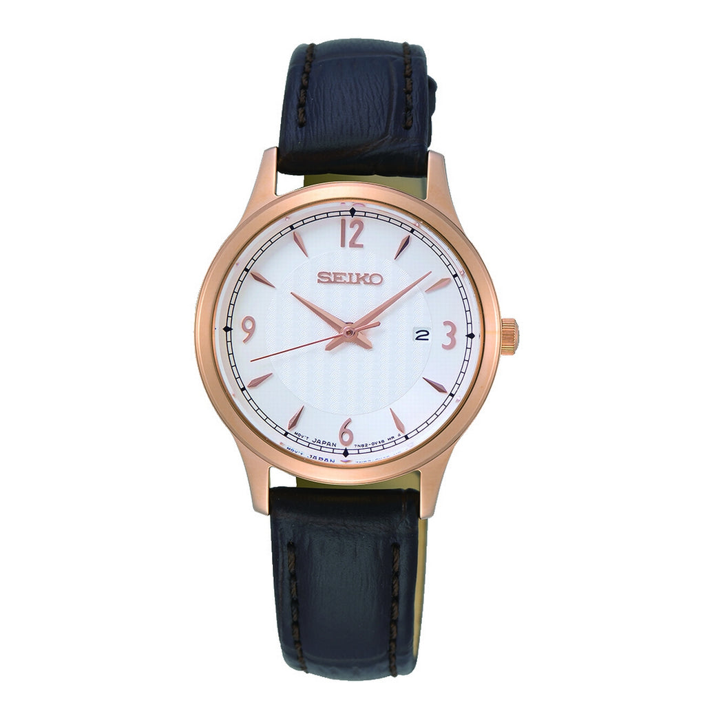 Seiko Quartz Ladies Gold Plated White Dial Strap Watch