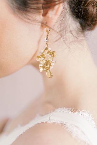 Bride wearing Joanna Bisley Designs bridal earrings