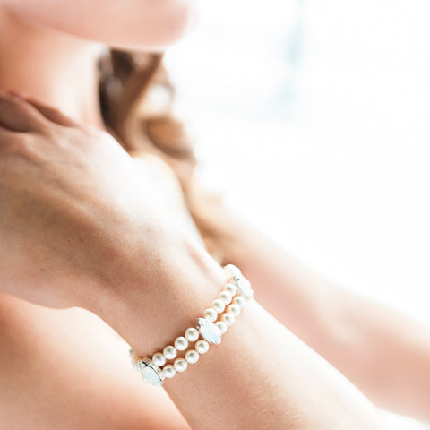 Gemma Crystal and Pearl Bridal Bracelet