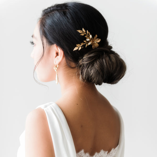 Gold and Swarovski Crystal bridal comb