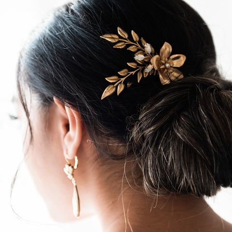 Brass and Swarovski Crystal bridal comb