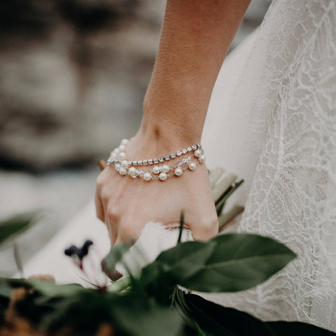 Swarovski Crystal and pearl silver triple strand bridal bracelet
