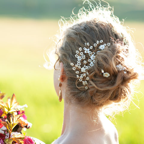 Tara Pearl and Mother of Pearl Bridal Headpiece with Pins