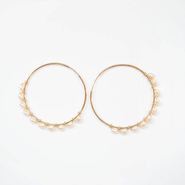 Coco 14kt Goldfill and Pearl Hoop Earrings