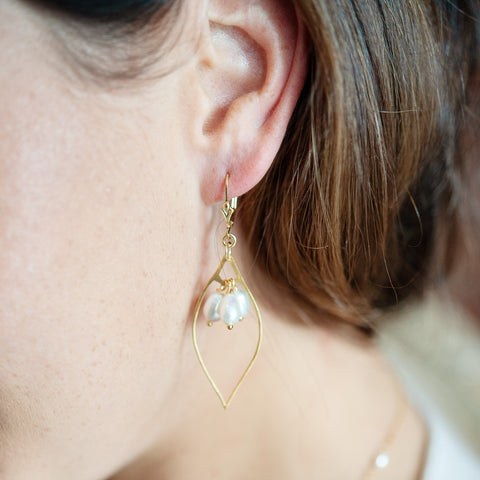 Tenby Pearl and Gold Marquis Earrings