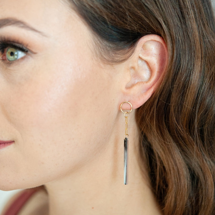 Derby 14kt Goldfill and Mink Acetate Earrings
