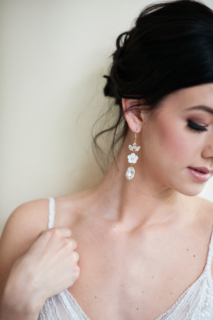 Lakin Swarovski Crystal and Mother of Pearl Wedding Earrings