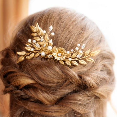Lane Gold, Pearl and Crystal Bridal Comb