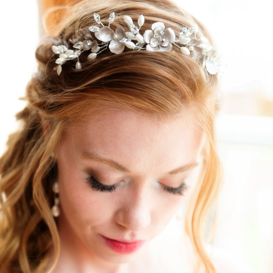Raelee Champagne Flower and Pearl Headpiece