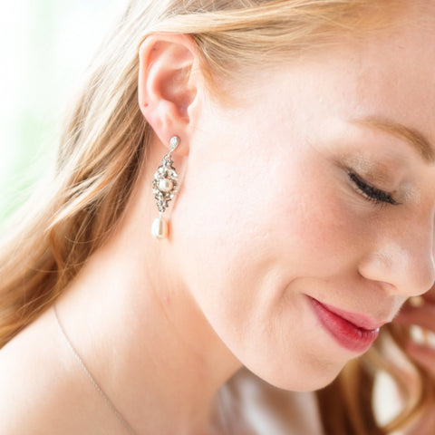 Ella Silver and Pearl Wedding Earrings