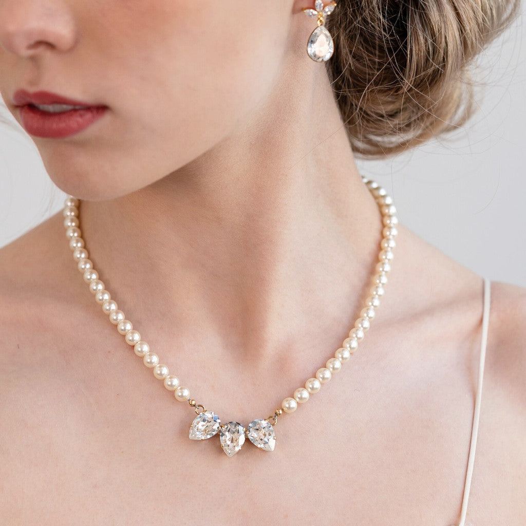 Victoria Pearl and Crystal Wedding Necklace