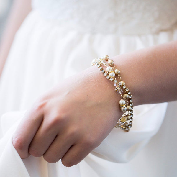 Swarovski Crystal and pearl gold triple strand bridal bracelet