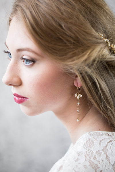 Wisteria Crystal and Pearl Wedding Earrings