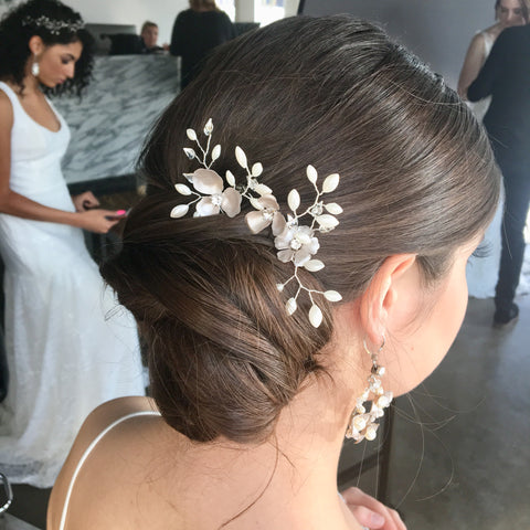 Lila Floral, Pearl and Crystal Hairpins