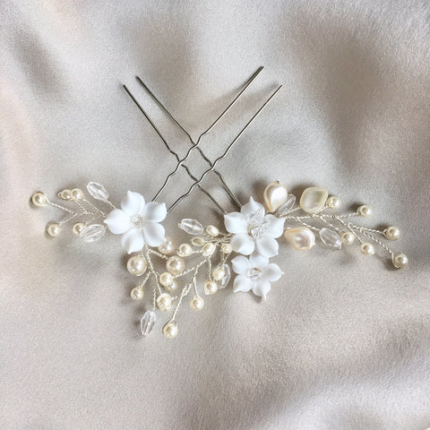 Wren Pearl and Floral Bridal Hairpins