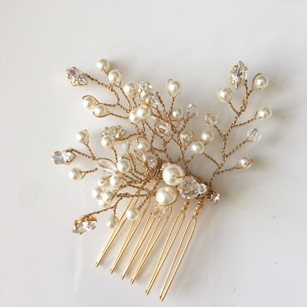 Gold bridal comb with Swarovski Crystals and pearls