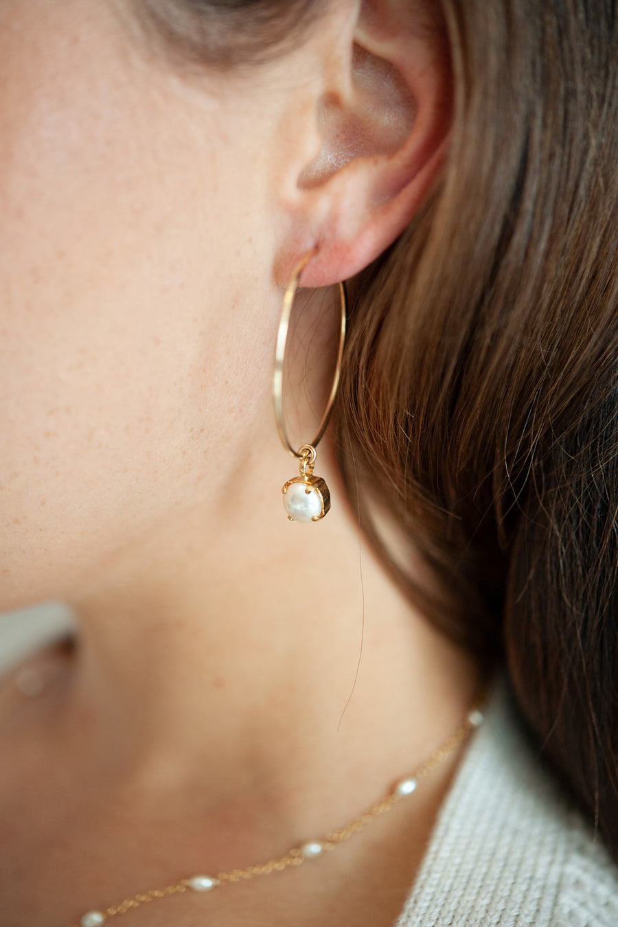 Molly 14kt Gold Hoop and Pearl Bridal Earring