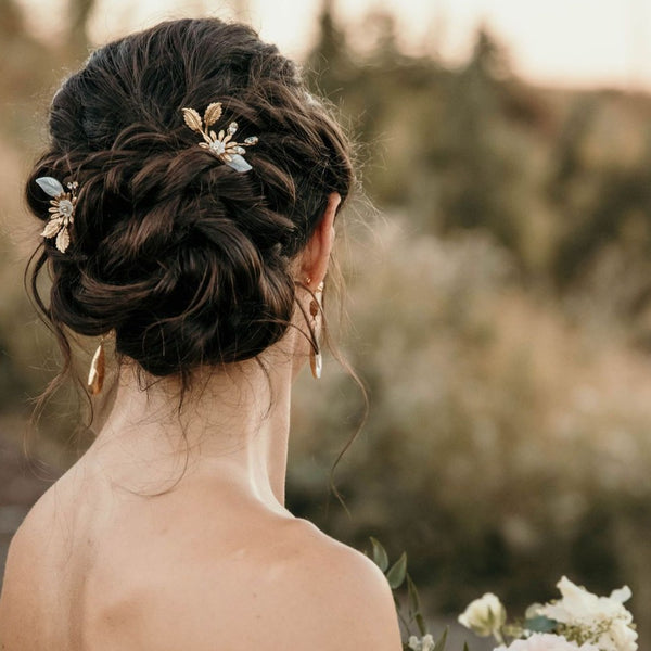 Claire Pearl and Gold Wedding Hairpins