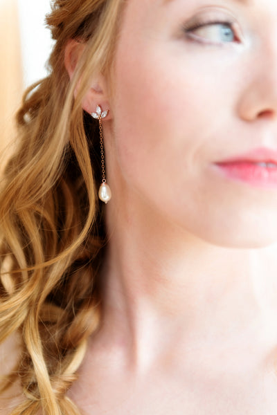 Sara Rose Gold and Pearl Earrings