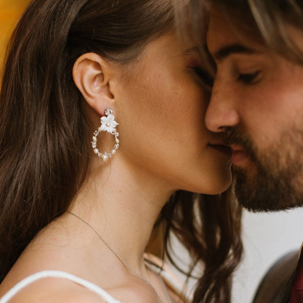 Thalia Swarovski Crystal and Pearl Bridal Earrings