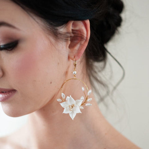 Penelope Flower and Pearl Statement Earrings