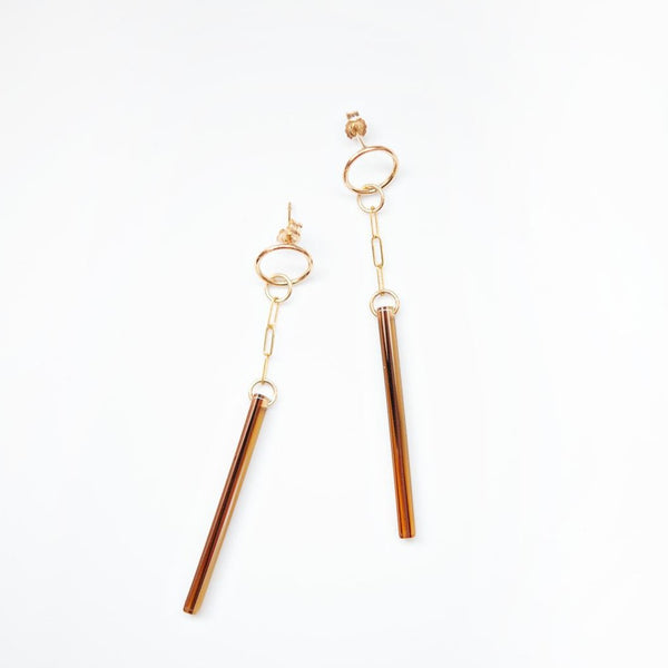 Derby 14kt Goldfill and Brown Sugar Acetate Earrings