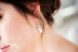Swarovski Crystal bridal earrings silver white opal
