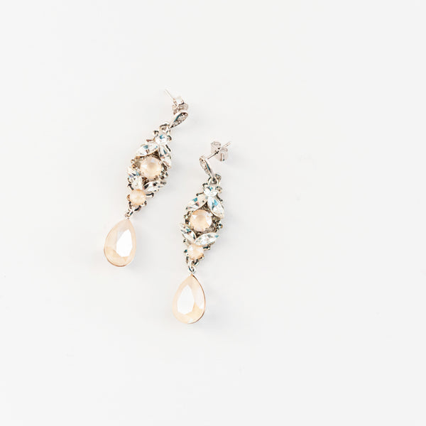 statement Swarovski Crystal bridal earrings in white opal or ivory cream
