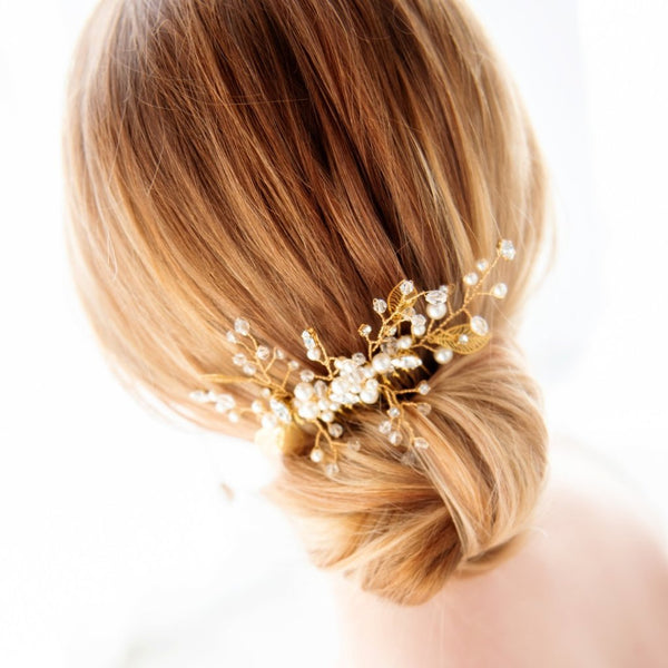 Swarovski Crystal and pearls gold bridal haircomb