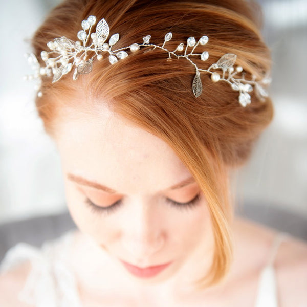 Liane bridal hairvine in swarovski crystal and silver