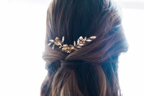 Audrey Gold Bridal Hairpins