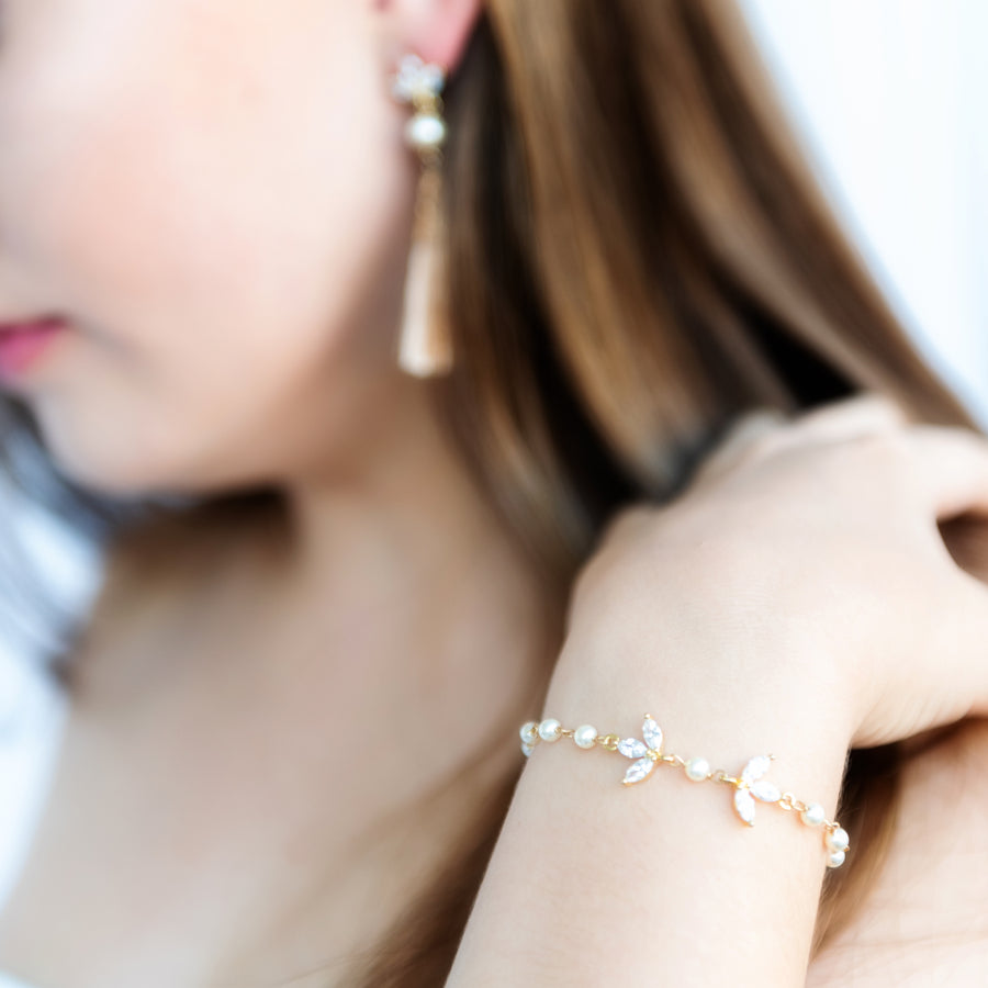 Zara Pearl and Crystal Wedding Bracelet (Gold out of stock)