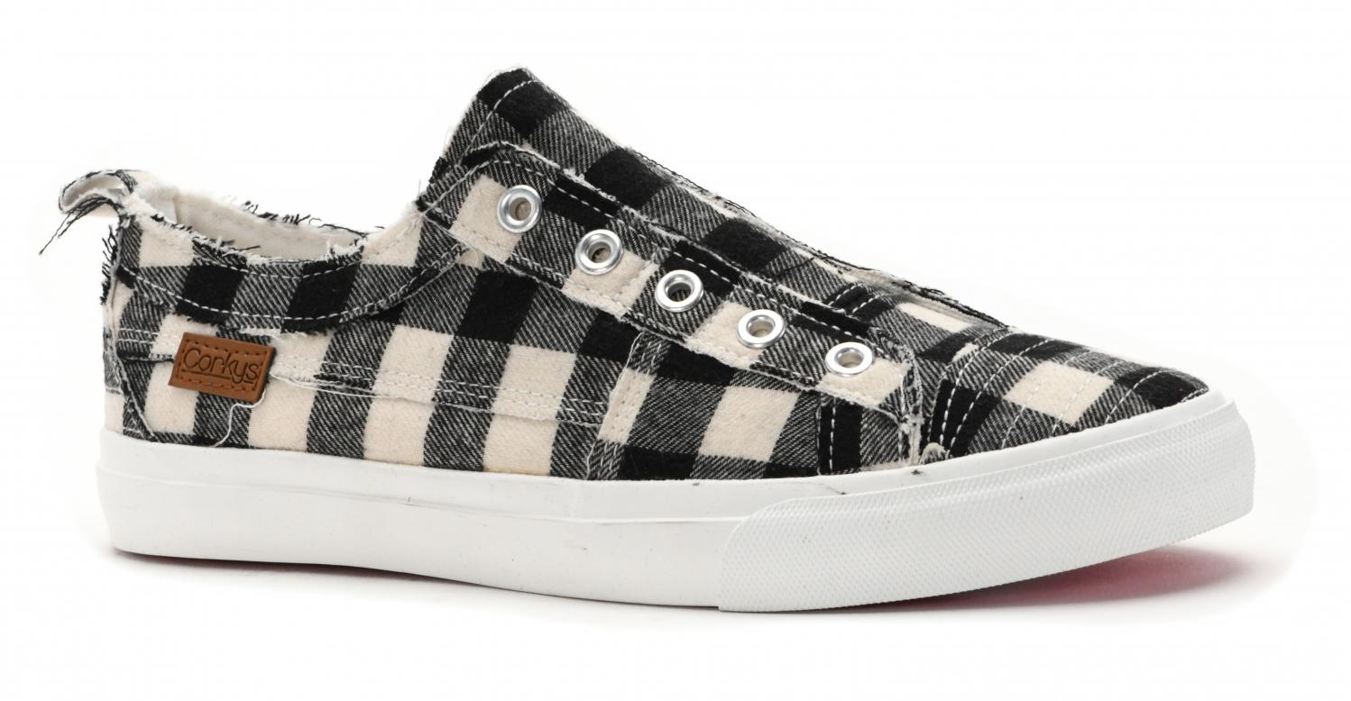 Corkys Shoes - Babalu White Plaid Sneaker