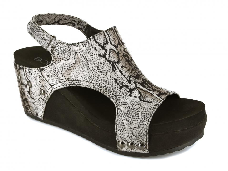 Corkys Shoes - Cabot Black Snake Wedge