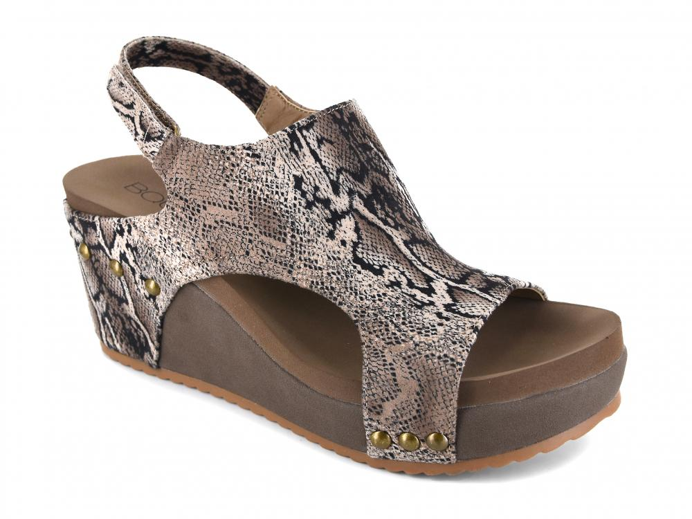 Corkys Shoes - Cabot Brown Snake Wedge
