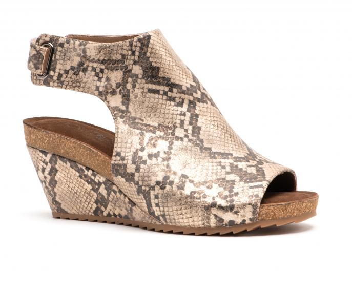 Corkys Shoes - Calypso Taupe Snake Wedge