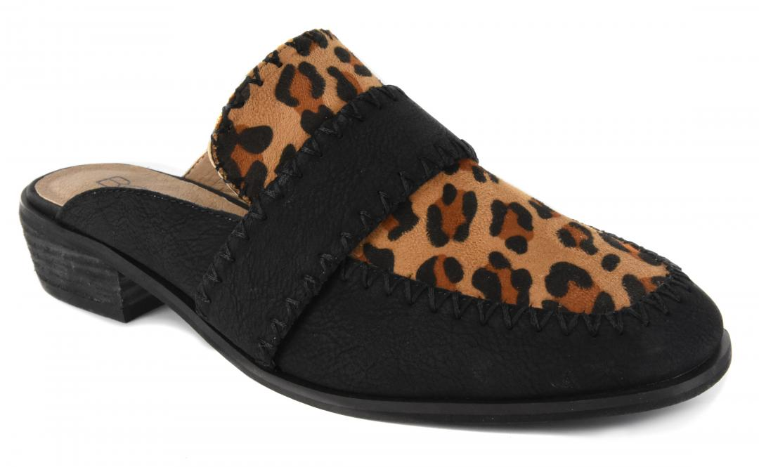 Corkys Shoes - Canterbury Black Leopard Suede Flat