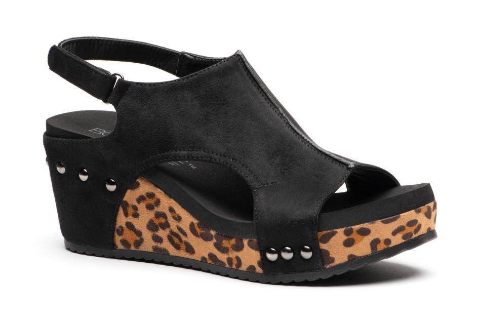 Corkys Shoes - Carley Black Leopard Wedge