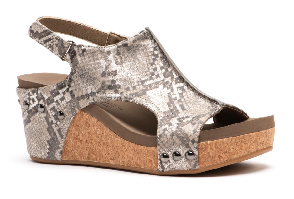 Corkys Shoes - Carley Taupe Snake Wedge