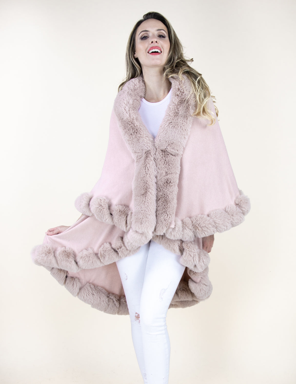Dusty Rose Faux Fur Trimmed Multi Layer Cape