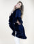Navy Faux Fur Trimmed Multi Layer Cape