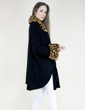 Black Leopard Faux Fur Neck and Sleeve Trimmed Coat