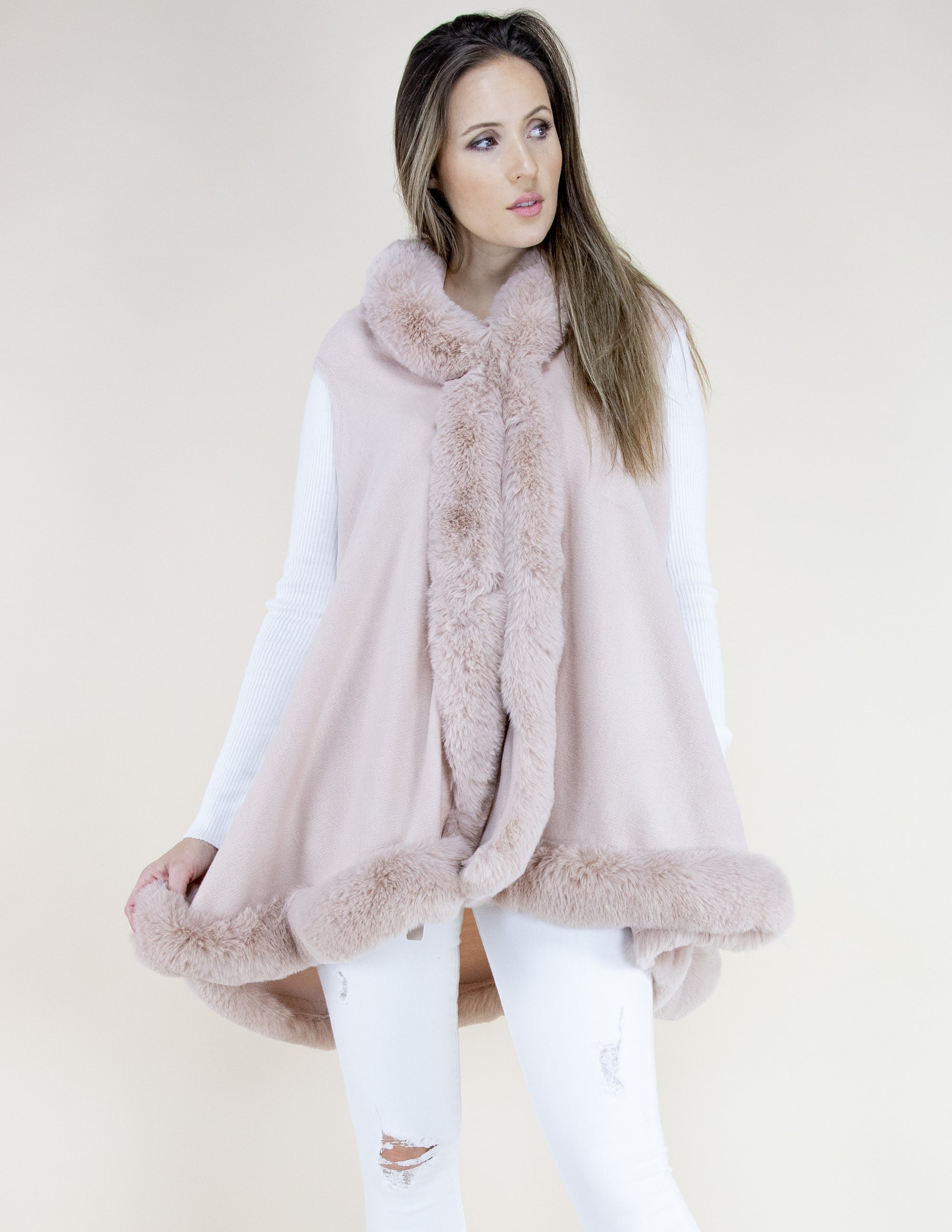 Dusty Rose Faux Fur Trimmed Vest with Hood