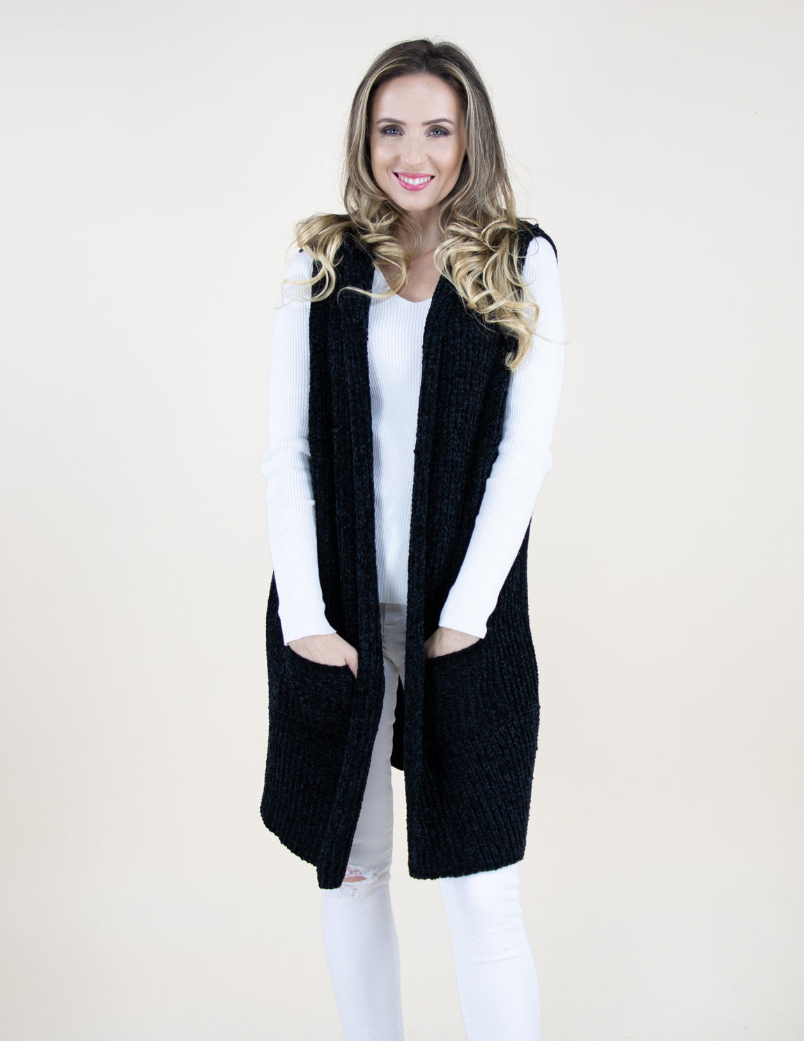 Black Chenille Vest with Front Pockets and Hood