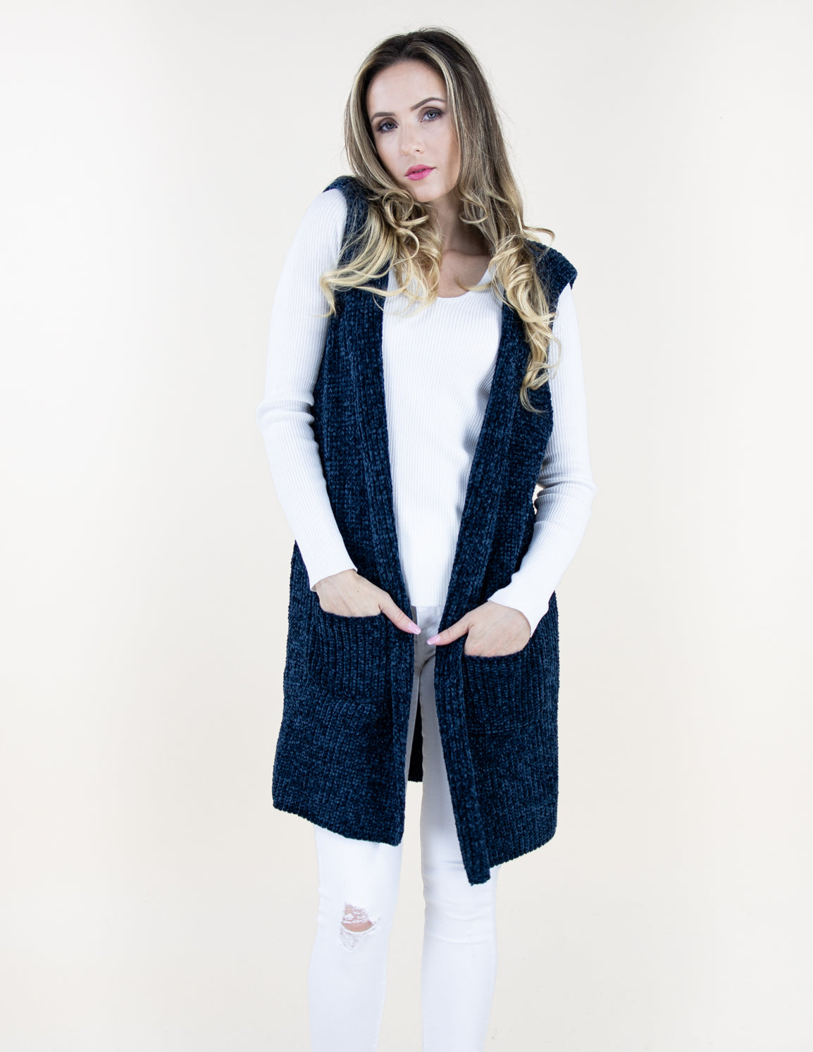 Denim Chenille Vest with Front Pockets and Hood