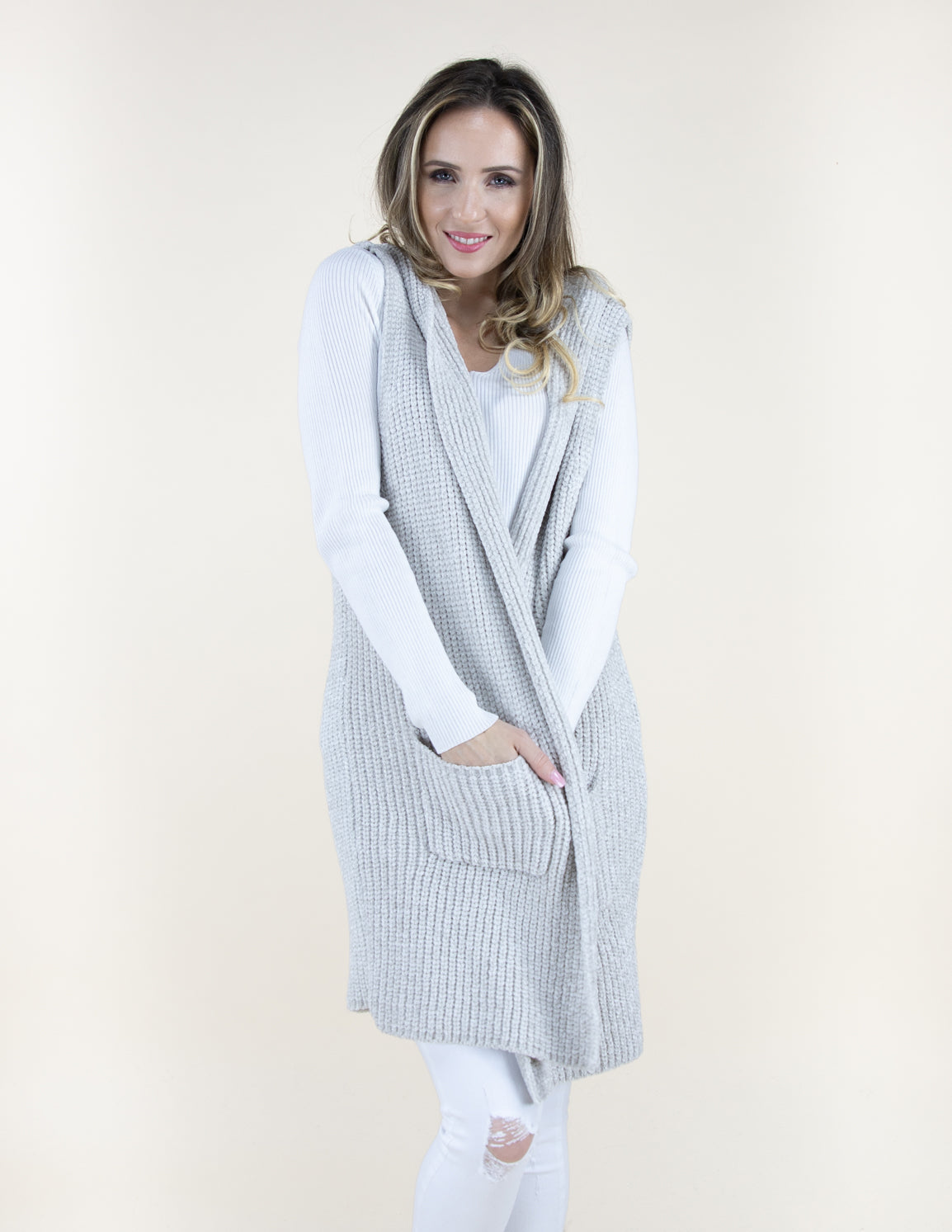 Lt. Grey Chenille Vest with Front Pockets and Hood