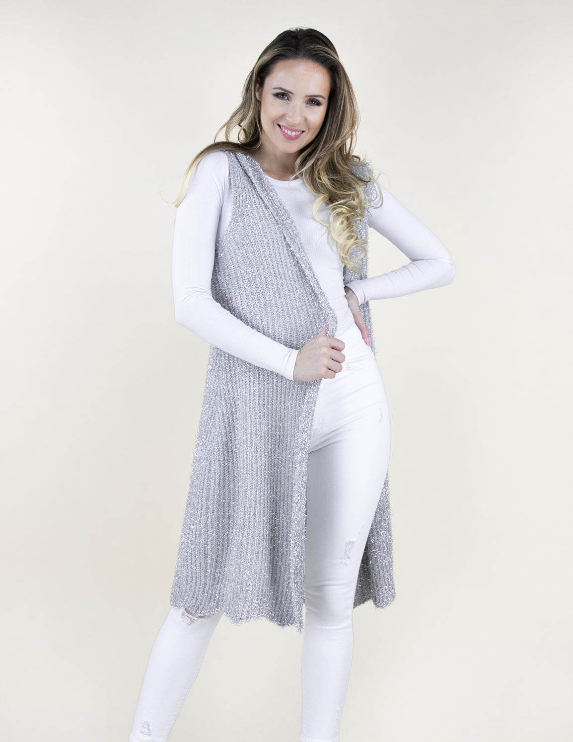 Silver Sparkle Me Lots Lurex Thread Long Vest with Hood and Scallop Bottom