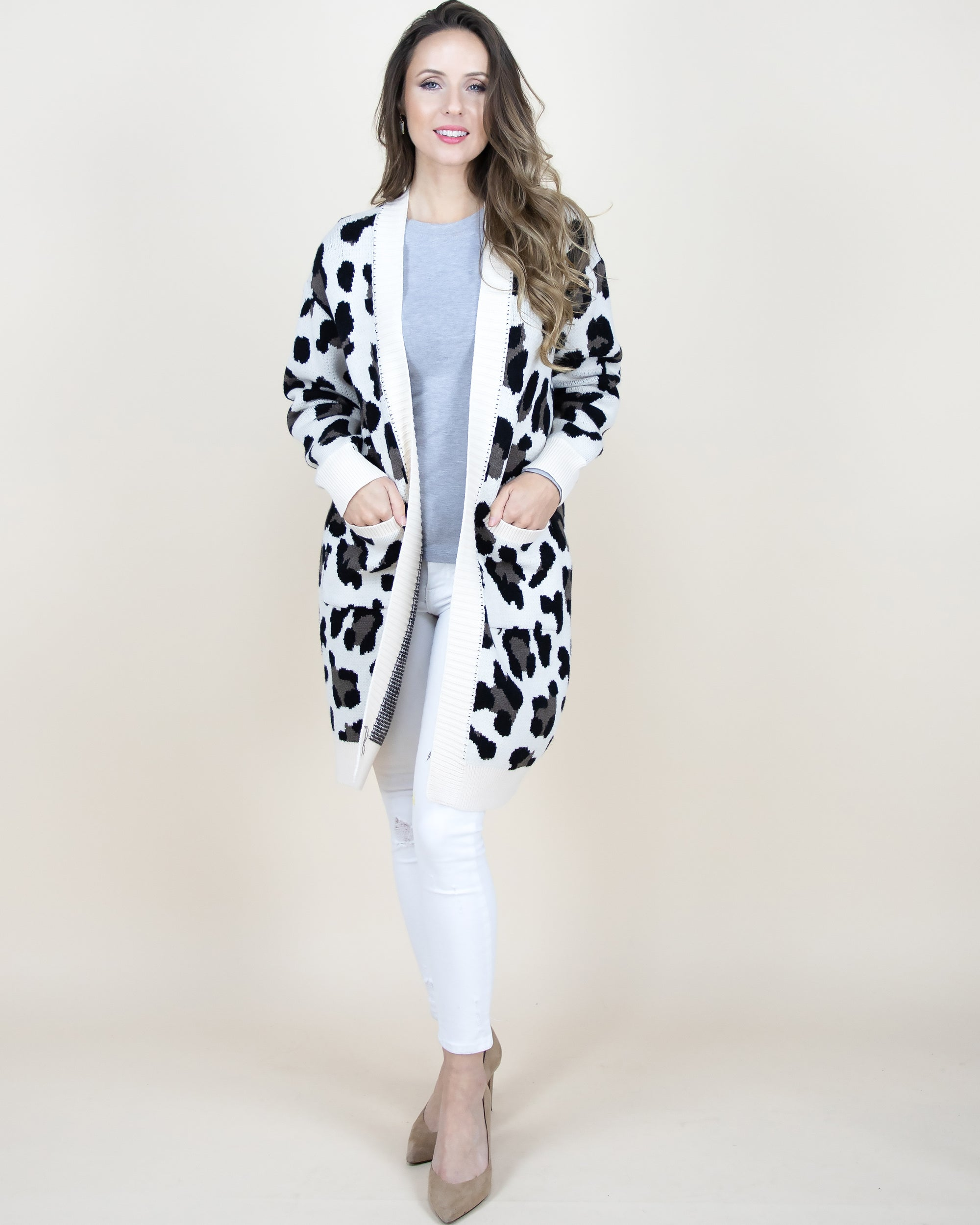 White Leopard Cardigan Sweater with Front Pockets