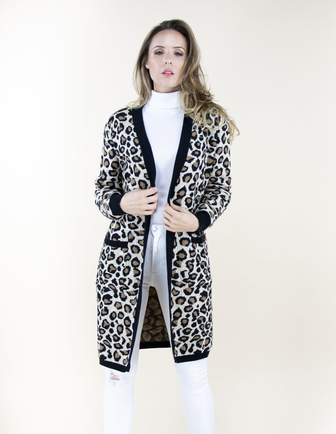 Leopard Print Long Cardigan Sweater with Front Pockets